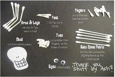 Q-tip Skeleton. Fun craft for kids to do.