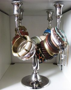 Silverplated candle holder candleabra repurposed into bracelet holder!