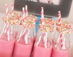 sprinkles birthday party. love the sprinkle rim on these glass milk bottles!