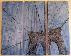 "Miniatures:                 Copyright Randy L Purcell 2010  Create a free website with     ""The Giant Ferris Wheel"" Triptych- ea panel 40"" x 16"" milk paint, Ink transfer on beeswax."