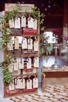 escort card display with vintage keys, photo by Dreamlove Photography http://ruffledblog.com/bishop-farm-wedding #weddingideas #seatingchart #escortcards