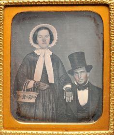 Daguerreotype of Woman w Bonnet Man w Ornate Basket Man A Top Hat | eBay