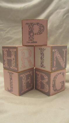Pink Grey Modern Alphabet 5 Wood Blocks Girls Nursery Room Decor Baby Shower Birthday Party Toys Custom Name Letters Maternity Photo Prop. $22.50, via Etsy.