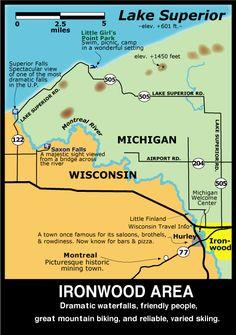 Map of the Ironwood, MI Area