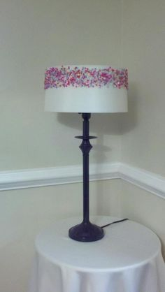 teen girl room porject    lamp re-do, painted purple, spray adhesive, and a bag of beads
