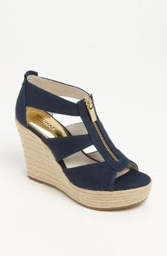 Nautical style! Love this Michael Kors navy and gold wedge sandal.