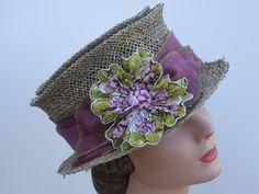 Straw Mad Hatter Hat, Vintage Handkerchief Flower,