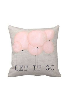 Pillow Cover Pink Balloons Let it Go Cotton and Burlap Pillow Cover