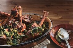 Braised Lamb Shanks with Swiss Chard - Comfort Food Recipe | Epicurious.com