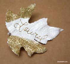 DIY Gold Glitter Leaf Place Cards