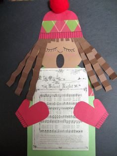 Seen versions of the Christmas Caroler project all over Pinterest.  Going to try it with first graders very soon!