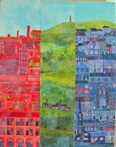 LATITUDE QUILTS: Townscape by Gillian Travis