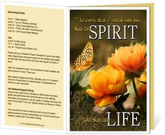 Church Bulletin Templates : God's Word inscription quote on the front cover.