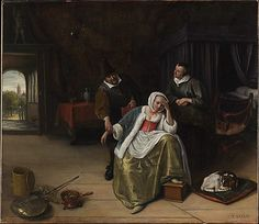 The Lovesick Maiden Jan Steen (Dutch, Leiden 1626–1679 Leiden) Date: ca. 1660 Medium: Oil on canvas Dimensions: 34 x 39 in. (86.4 x 99.1 cm) Classification: Paintings Credit Line: Bequest of Helen Swift Neilson, 1945 Accession Number: 46.13.2
