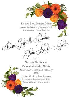 Purple and Orange Flower Wedding by BelovedDesignsbyDana on Etsy, $6.00