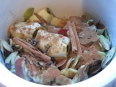 Use apple cores/peels with spices in crockpot to make your house smell like cozy fall day!