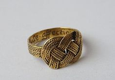 """A knot motif posy Ring inscribed """"Vertue.Rule.affection"""" ca. 15th century.  English."""