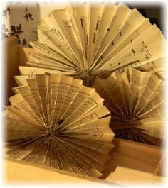These would be beautiful tucked into centerpieces and tables...Vintage book Paper Aged Sheet Music Rosettes, only  $25.00 for a set