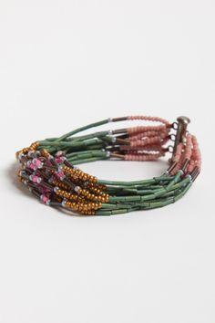 Matte green bugle beads remind me of bamboo - pretty  #handmade #jewelry #bracelet #beading