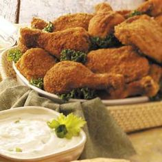 Picnic Chicken with Yogurt Dip Recipe from Taste of Home -- shared by Ami Okasinski of Memphis, Tennessee