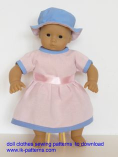 Bitty Baby doll clothes sewing patterns to download - DRESS and HAT