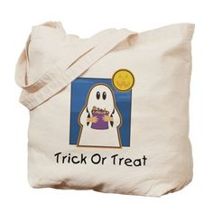 Trick or Treat Ghost Tote Bag at Cafe Press Canada