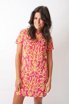 Sheridan French Elizabeth Dress in Pink & Yellow Ikat