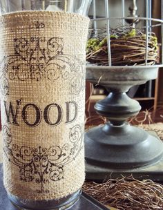 Printed burlap over glass vase - GREAT look, easy to do, closes with velcro #burlap #vase