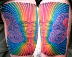 striped color work by dominick mcintosh // Amazing colors and lines! (tattoo)