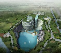 Construction has begun on the Intercontinental Shimao Shanghai Wonderland, a 19-story hotel outside of Shanghai, China. Almost all those floors will be below ground level.