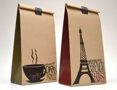 gift bags, paper bags, pari, coffee packaging, lunch bags, packag design, student work, coffee bags, house projects