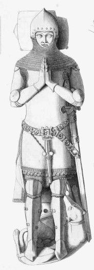 19th century drawing of effigy of Humphrey de Bohun, 4th Earl of Hereford (1276 - 1322), married to Elizabeth Plantagenet, daughter of King Edward Longshanks Plantagenet and Eleanor of Castile.