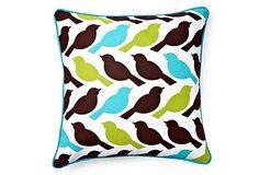 bird pillow, decor, color combo, bird prints, feathers, feather pillow, birds, color pallet, pillows