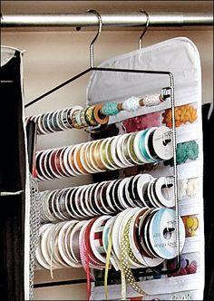 Organize ribbon using a pant hanger