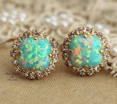 Mint Opal stud green sea foam Crystal earring  bridesmaid  earrings - 14k 1 micron Thick plated gold post earrings  Swarovski rhinestones .