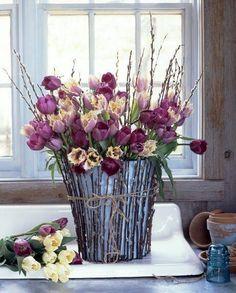 plum bouquet, easter, stick, color, purple flowers, willow, floral arrangements, tulips, garden