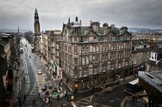 Where Queensferry St meets Shandwick Pl, Edinburgh. Taken from the gents' toilet window in Frasers in the West End.