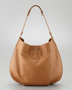 Tory Burch Stacked T Hobo Bag, Tan - Neiman Marcus