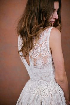A pretty laced back dress.
