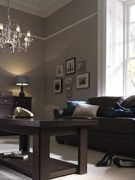 living room paint color ideas with brown furniture - reminds me of my gray with brown furniture.  But I love the molding!