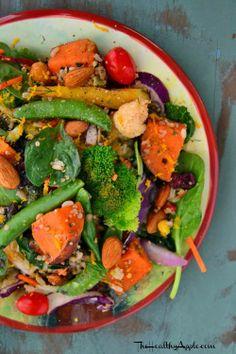 Spinach Quinoa Salad with Honey Coriander Dressing   TheHealthyApple.com  #glutenfree #recipe #healthy #vegetarian #dairyfree