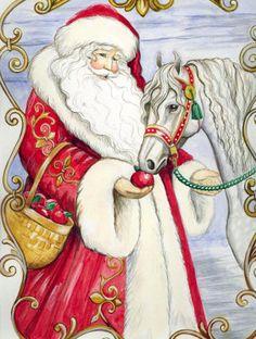 Santa with white horse