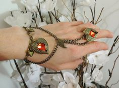 Double Heart Love Slave Bracelet Ring An by TheMysticalOasisGlow, $35.00