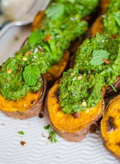 Recipe: Roasted Sweet Potato Slices with Cilantro Pesto — Recipes from The Kitchn | The Kitchn