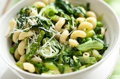Leek, asparagus and pea pasta recipe - goodtoknow I'd have to swap out the peas...maybe for some roasted brussels. Talk about veggie central!