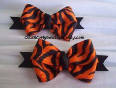 Tiger Hair bow Girls Orange Black Set on Etsy, $6.50