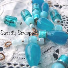 Blue Beaded Charms... DIY Jewelry by SweetlyScrappedArt on Etsy, $1.50