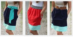 Color Block Tank Dress: a tutorial.  Wonder how this would look with a v-neck tee instead of the tank?