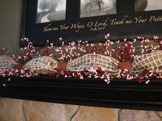 Mantle Garland, Berry Garland, Valentine Garland, Valentines Decoration, Burlap Garland, Mantle Decoration, Home Decor