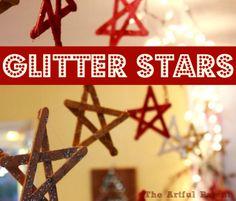 glitter star, christmas crafts, christmas decorations, stars, craft idea, holiday crafts, christma craft, kid crafts, popsicl stick